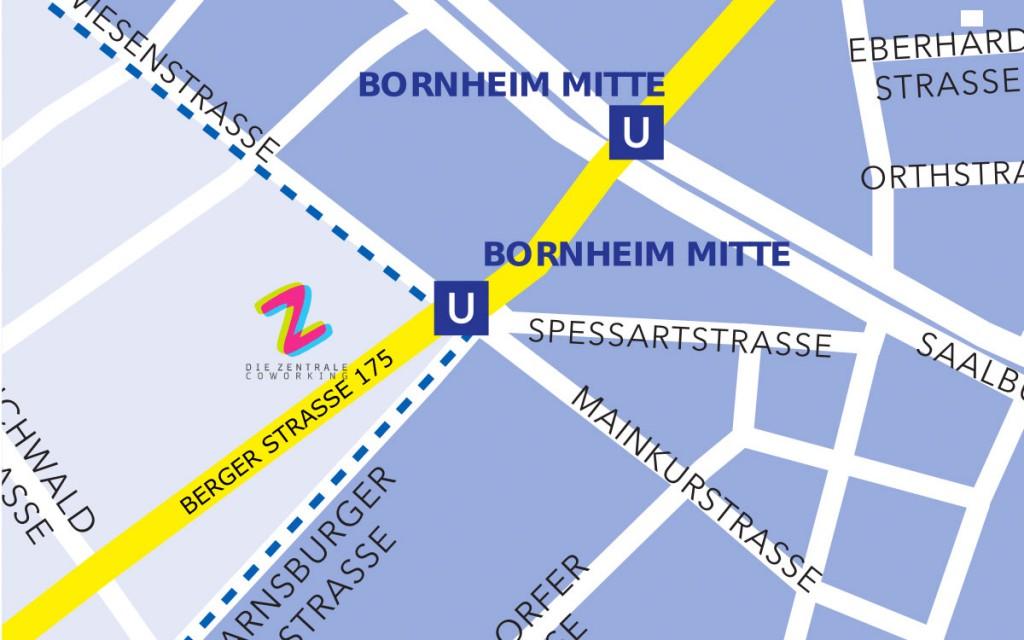 """Straßenausschnitt mit Standort zum Co-Working-Space """"Die Zentrale"""" in der Berger Straße"""