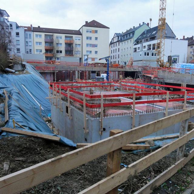 Ein Blick auf die Baustelle in der Eulengasse, Ecke Ameisenberg