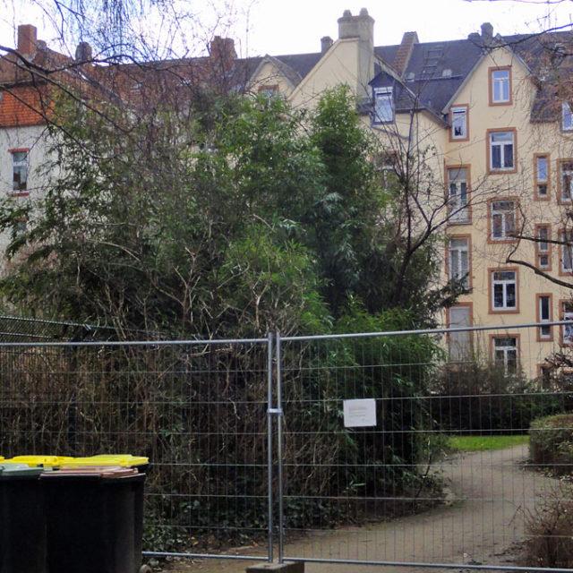 Freifläche beim Hochbunker in der Petterweilstraße geschlossen